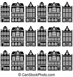 Seamless house pattern - Dutch, Amsterdam houses, retro...