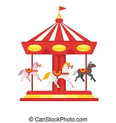 Vector flat style illustration of carousel. Icon for web. -...
