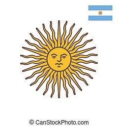 flat style illustration of symbol of Argentina - Sun of May.