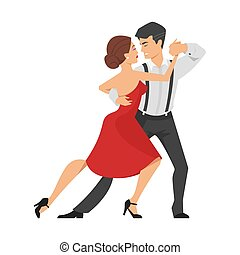 Vector flat style illustration of couple dancing tango.