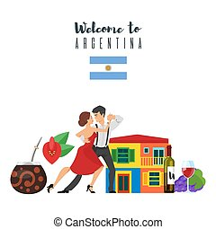 Welcome to Argentina template for web banner or poster for...