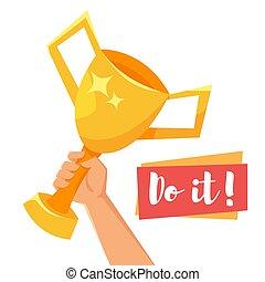 Vector cartoon style illustration of hand holding golden winner cup