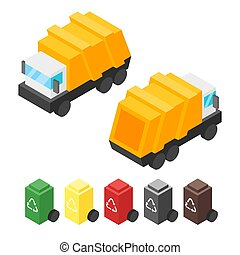Vector isometric garbage truck. Back and front view. Icon...
