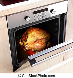 Thanksgiving - appetizing roast turkey in the oven for...