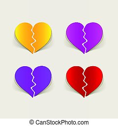 realistic design element: broken heart