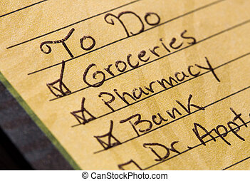 To Do List - Handwritten to do list with checked off items.