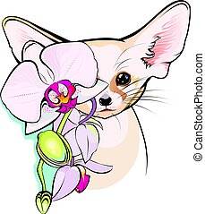 Illustration of cute Fox Fennec - Small African fox Fennec...