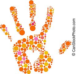 Hand print with heart symbol