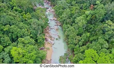 Drone Camera Removes from Mountain River among Jungle -...
