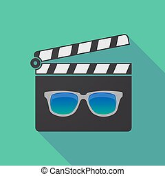 Long shadow clapper board with  a sunglasses icon