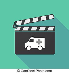 Long shadow clapper board with  an ambulance icon