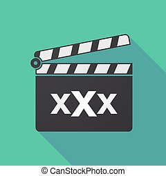 Long shadow clapper board with a XXX letter icon -...