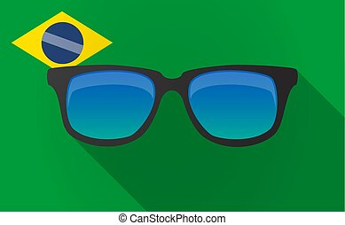 Long shadow Brazil map with a sunglasses icon - Illustration...