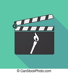 Long shadow clapper board with  a torch icon
