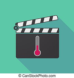Long shadow clapper board with  a thermometer icon