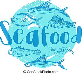 Blue seafood background