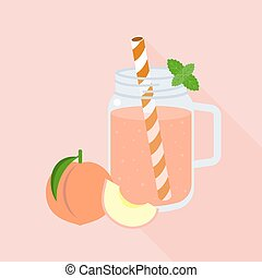 Peach juice in mason jar glass, flat design