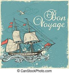 Vintage sailing ship - Vintage blue travel background with...