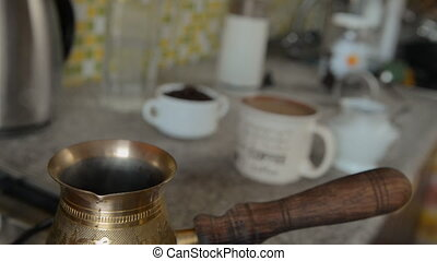 The home coffee in stove. - The coffee was cooked on the...