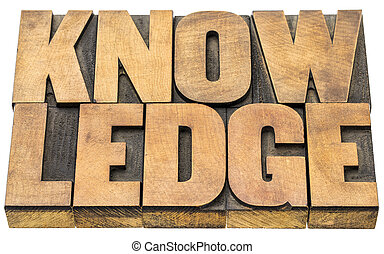 knowledge word abstract in wood type