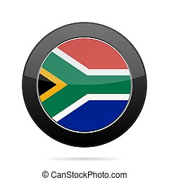 Flag of South Africa. Shiny black round button.