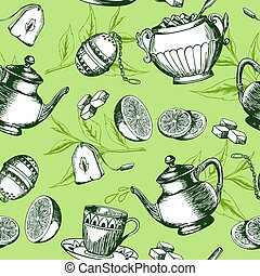 Green tea pattern - Vintage hand drawn green tea seamless...