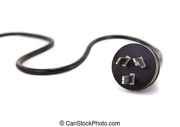Aussie power cord. - An Australian power lead on a white...