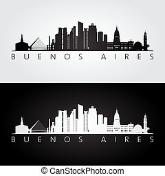 Buenos Aires skyline and landmarks silhouette, black and...