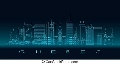 Quebec skyline, detailed silhouette.