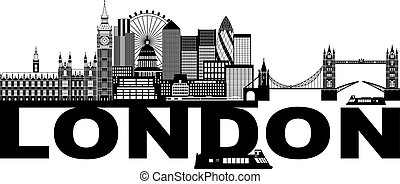 London Skyline Black and White Text Illustration