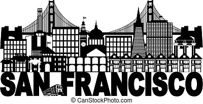 San Francisco Skyline and Text Black and White Illustration...