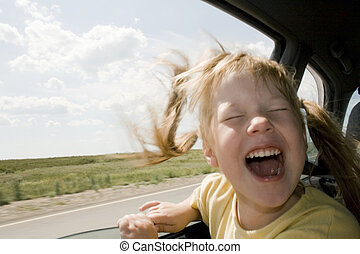 Child will go in the Car - Little fun girl speeds in car...