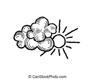 Sun with clouds icon. Doodle line art weather sign...