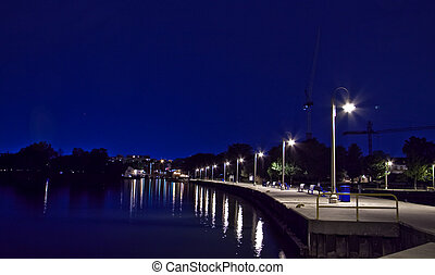 Bronte Harbor at night - Bronte harbor on a summer night-...