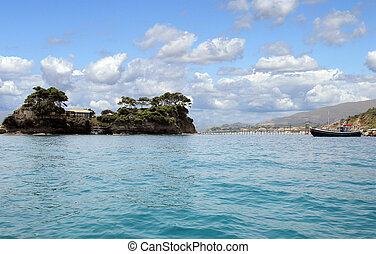Cameo island and the bridge view from the sea on Zakynthos...