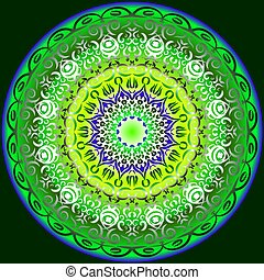 Symmetrical circular pattern in bright colors