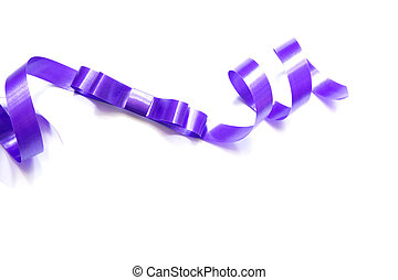the spiral purple ribbon isolated on white background.