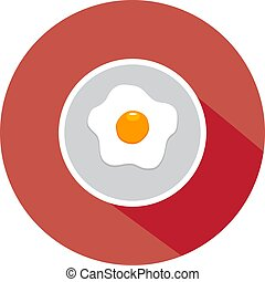 Plate - vector pale flat design with fried egg