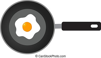 fried eggs - vector pan with fried eggs