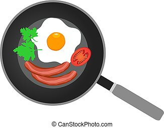 Frying Pan - vector frying pan with breakfast