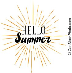 sun rays hello - vector hello summer sun rays