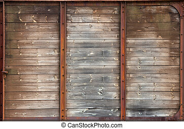 old wood texture - old wooden wall in rusty metal frame...