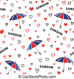 Travel London seamless pattern with love hearts and umbrella. Br