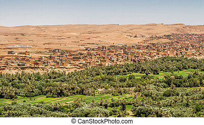 The city of Tinghir in the south of Morocco