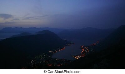 Bay of Kotor at night. View from Mount Lovcen down towards...