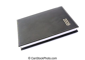 Diary 2009 - A black closed used leather diary for the year...