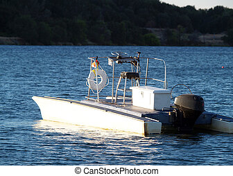 Unmanned motor boat on floating on lake - Motor boat...