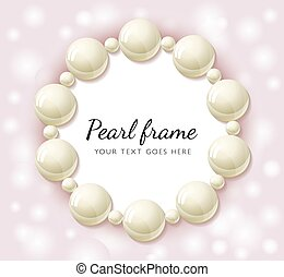 Pearl beads frame - Pearl beads round frame on pink bokeh...