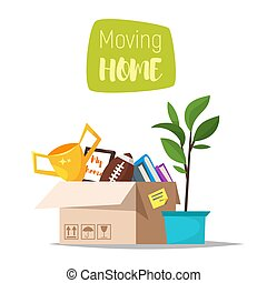 Cartoon style illustration of cardboard boxes with home stuff