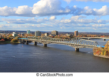 Hull, Ontario, Canada - View of buildings and bridge of...